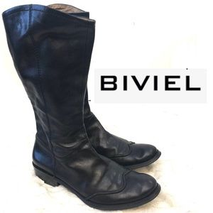Biviel Black Leather riding calf length boots 39.5